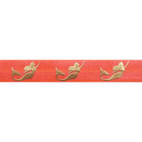 "Neon Coral & Gold Mermaids - 5/8"" Metallic Printed Fold Over Elastic"