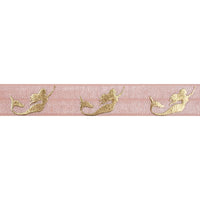 "Light Peach & Gold Mermaids - 5/8"" Metallic Printed Fold Over Elastic"