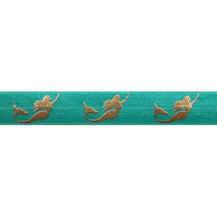 "Aquamarine & Gold Mermaids - 5/8"" Metallic Printed Fold Over Elastic"