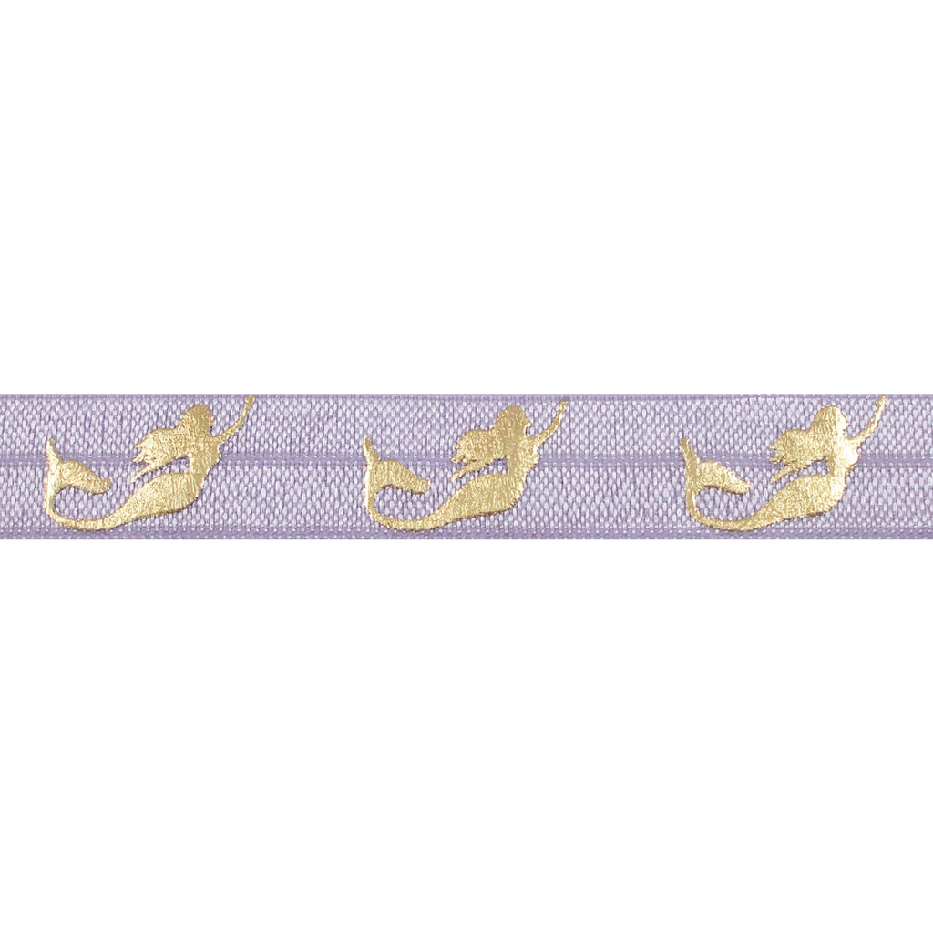 "Lavender & Gold Mermaids - 5/8"" Metallic Printed Fold Over Elastic"