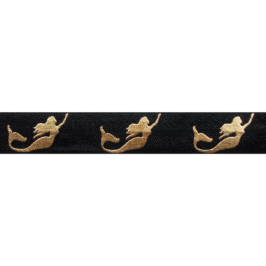 "Black & Gold Mermaids - 5/8"" Metallic Printed Fold Over Elastic"