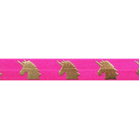 "Neon Pink & Gold Unicorns - 5/8"" Metallic Printed Fold Over Elastic"
