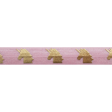 "Ballerina Pink & Gold Unicorns - 5/8"" Metallic Printed Fold Over Elastic"