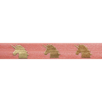 "Coral Peach & Gold Unicorns - 5/8"" Metallic Printed Fold Over Elastic"