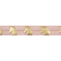"Light Peach & Gold Unicorns - 5/8"" Metallic Printed Fold Over Elastic"