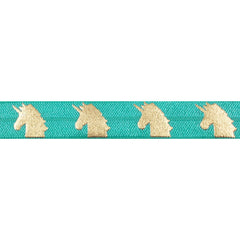 "Aquamarine & Gold Unicorns - 5/8"" Metallic Printed Fold Over Elastic"