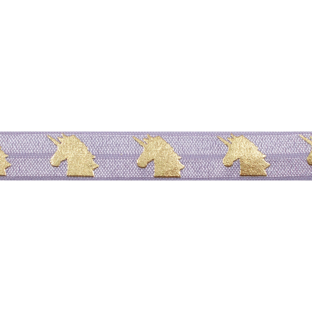 "Lavender & Gold Unicorns - 5/8"" Metallic Printed Fold Over Elastic"