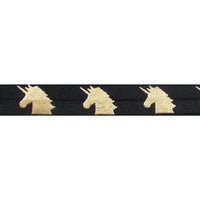 "Black & Gold Unicorns - 5/8"" Metallic Printed Fold Over Elastic"