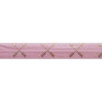 "Ballerina Pink & Gold Arrows - 5/8"" Metallic Printed Fold Over Elastic"