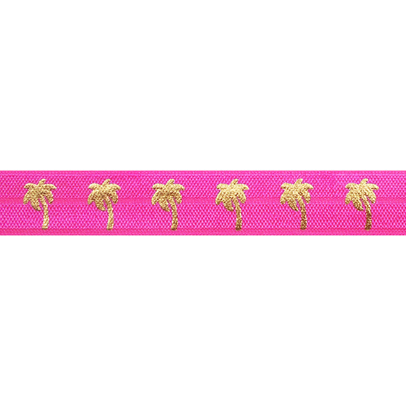 "Neon Pink & Gold Palm Trees - 5/8"" Metallic Printed Fold Over Elastic"