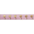 "Ballerina Pink & Gold Palm Trees - 5/8"" Metallic Printed Fold Over Elastic"