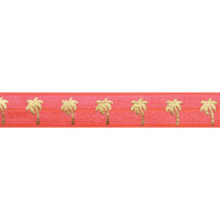 "Neon Coral & Gold Palm Trees - 5/8"" Metallic Printed Fold Over Elastic"
