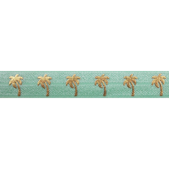 "Mint Green & Gold Palm Trees - 5/8"" Metallic Printed Fold Over Elastic"