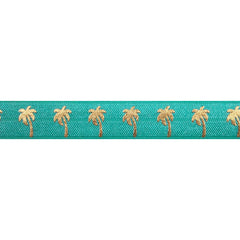 "Aquamarine & Gold Palm Trees - 5/8"" Metallic Printed Fold Over Elastic"