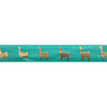 "Aquamarine & Gold Llamas - 5/8"" Metallic Printed Fold Over Elastic"