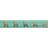 "Sea Foam & Gold Llamas - 5/8"" Metallic Printed Fold Over Elastic"