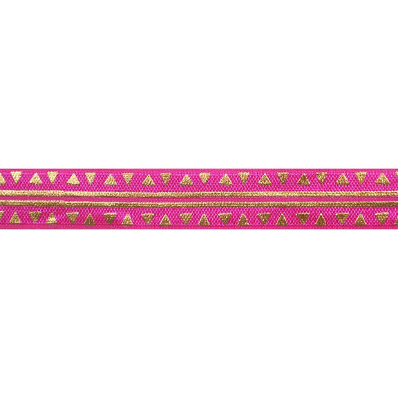 "Hot Pink & Gold Aztec - 5/8"" Metallic Printed Fold Over Elastic"