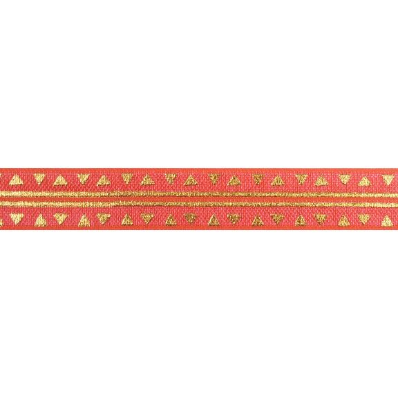 "Neon Coral & Gold Aztec - 5/8"" Metallic Printed Fold Over Elastic"