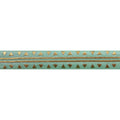 "Mint Green & Gold Aztec - 5/8"" Metallic Printed Fold Over Elastic"