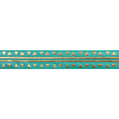 "Aquamarine & Gold Aztec - 5/8"" Metallic Printed Fold Over Elastic"