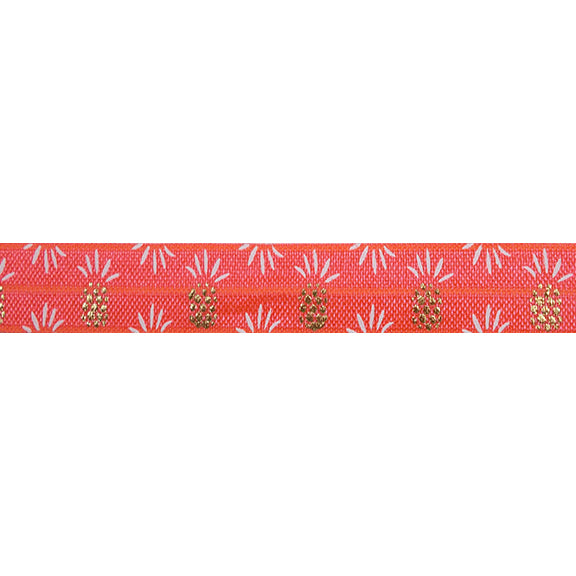 "Neon Coral & Gold Pineapples - 5/8"" Metallic Printed Fold Over Elastic"
