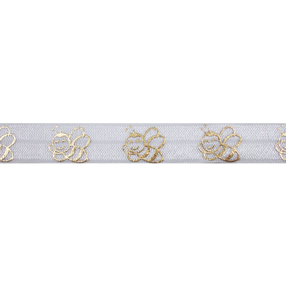 "White & Gold Bumble Bees - 5/8"" Metallic Printed Fold Over Elastic"