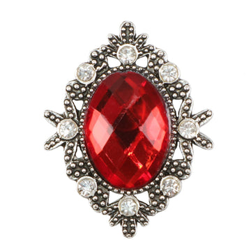 Red - 32mm Silver Victorian Metal Button