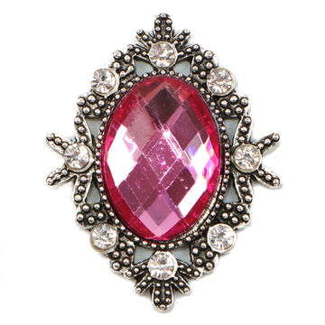 Hot Pink - 32mm Silver Victorian Metal Button