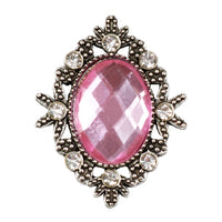 Light Pink - 32mm Silver Victorian Metal Button