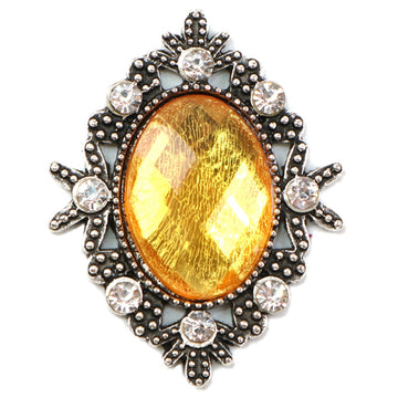 Yellow - 32mm Silver Victorian Metal Button