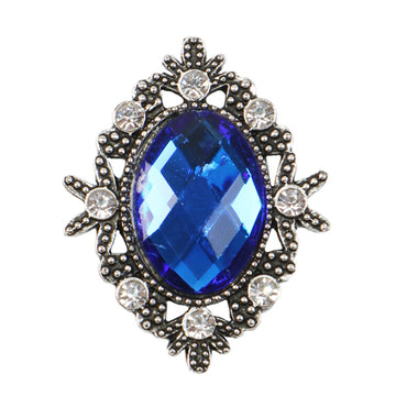 Royal Blue - 32mm Silver Victorian Metal Button
