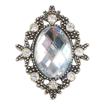Clear - 32mm Silver Victorian Metal Button