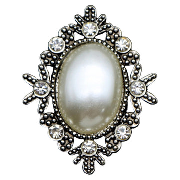 Pearl - 32mm Silver Victorian Metal Button