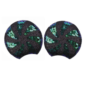 "Black + Peacock Peppermint - 3.25"" Sequins + Glitter Mouse Ears"