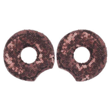 "Brown Donut - 3.25"" Sequins Mouse Ears"