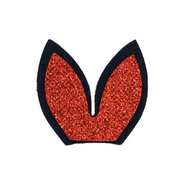 "Navy Blue + Red - 1.75"" Felt + Glitter Bunny Ears"