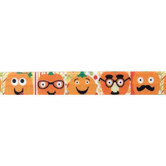 "Pumpkin Faces - 5/8"" Printed Fold Over Elastic"