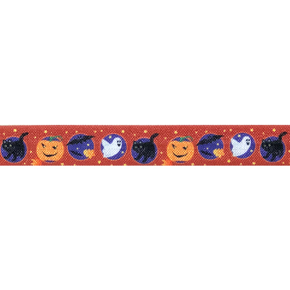 "Boo-stacular - 5/8"" Printed Fold Over Elastic"