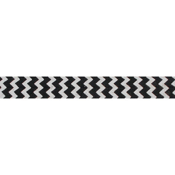 "White & Black Chevron - 5/8"" Printed Fold Over Elastic"