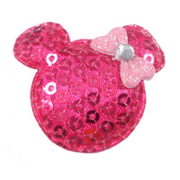 "Hot Pink Sequin Mouse & Light Pink Bow - 1.5"" Padded Applique"
