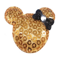 "Gold Sequin Mouse & Black - 1.5"" Padded Applique"