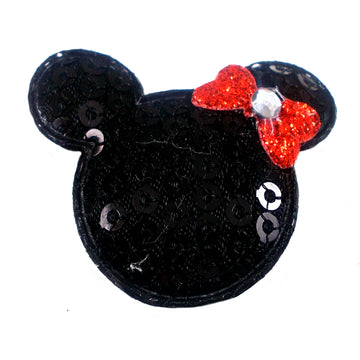 "Black Sequin Mouse & Red Bow - 1.5"" Padded Applique"