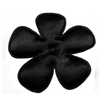 "Black Satin Flower - 2"" Padded Applique"