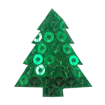 "Green Sequin Christmas Tree - 1"" Padded Applique"