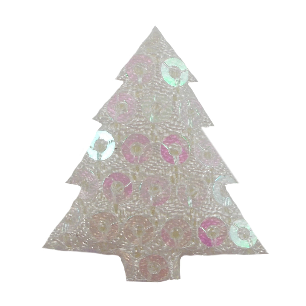 "White Sequin Christmas Tree - 1"" Padded Applique"