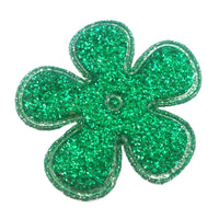 "Green Glitter Flower - 1.5"" Padded Applique"