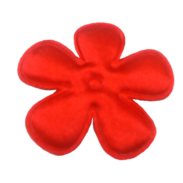"Red Satin Flower - 2"" Padded Applique"