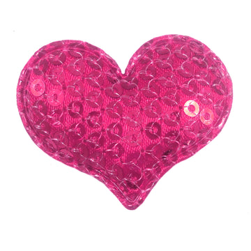 "Hot Pink Sequin Heart - 1.5"" Padded Applique"