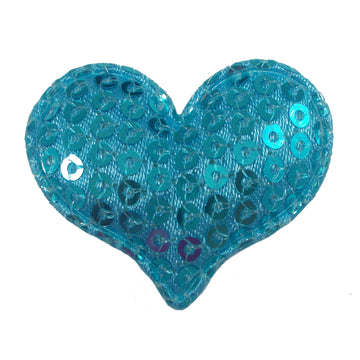 "Aqua Sequin Heart - 1.5"" Padded Applique"