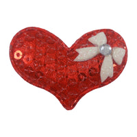 "Red Sequin Heart & White Bow - 1.5"" Padded Applique"